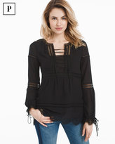 White House Black Market Petite Black Lace-Up Boho Blouse