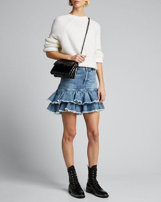 Alice + Olivia Good High-Rise Ruffle-Hem Skirt