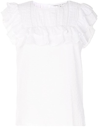 Veronica Beard Ruffled Yoke Sleeveless Top