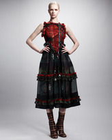 Givenchy Printed Moto-Zip Tiered Dress