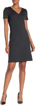 St. John Leather Trim Wool Dress