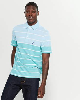 Nautica Oxford Color Block Stripe Short Sleeve Polo
