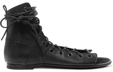 Ann Demeulemeester Lace-up Leather Sandals - Black