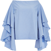 Rosie Assoulin Ruffle Sleeved Off the Shoulder Top