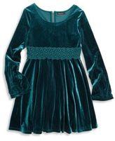 Ella Moss Girl's Katy Velvet Bell Sleeve Dress
