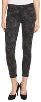 Paige Verdugo Floral-Print Skinny Ankle Jeans, Black Pattern
