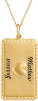 JCPenney FINE JEWELRY Personalized 10K Yellow Gold Rectangular Puffed Heart Pendant Necklace