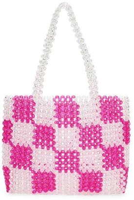 Bari Lynn Check Beaded Handbag