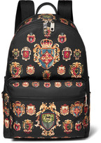 Dolce & Gabbana Leather-trimmed Printed Shell Backpack - Black