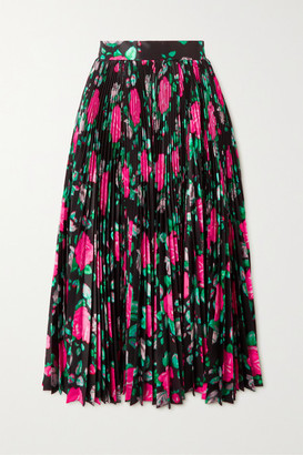 Richard Quinn Pleated Floral-print Taffeta Midi Skirt - Black
