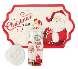 Fitz & Floyd Lettrs To Santa Milk And Cookies 3Pc
