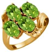 Gem Stone King 2.00 Ct Oval Peridot Yellow Gold Plated Sterling Silver Ring