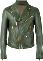 Les Hommes zip up jacket - men - Leather/Acetate - 48
