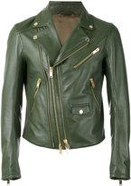 Les Hommes zip up jacket - men - Leather/Acetate - 50