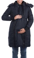 Women's Modern Eternity Madison Quilted Maternity Puffer Coat With Faux Fur Trim