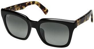 Maui Jim Heliconia (Gloss Black/Tokyo Tortoise Temples/Neutral Grey) Athletic Performance Sport Sunglasses