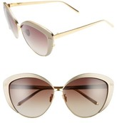 Linda Farrow Women's 62Mm 22 Karat Gold Trim Cat Eye Sunglasses - Black/ Yellow Gold/ Grey