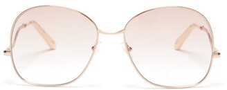 Chloé Willis Square Metal Sunglasses - Womens - Light Pink