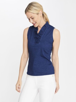 J.Mclaughlin Durham Sleeveless Ruffle Denim Top