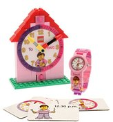 Lego Time Teacher Pink Kids Minifigure Link Buildable Watch, Constructible Clock and Activity Cards | blue/green | plastic | 28mm case diameter| analogue quartz | boy girl | official