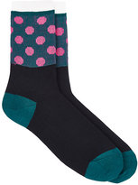 Yohji Yamamoto Men's Polka Dot Cotton-Blend Mid-Calf Socks