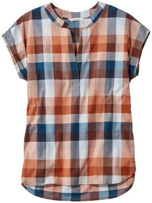 L.L. Bean Women's Signature Madras Shirt, Short-Sleeve Split-Neck Popover