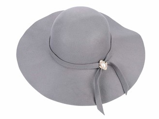 IBLUELOVER Women Wool Felt Fedora Hat 1920s Vintage Cloche Derby Hats Wide Brim Floppy Hat Bowler Church Hat Party Bucket Hat with Lovely Ribbon Pearl for Girls Ladies Grey