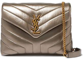 Saint Laurent Loulou Metallic Quilted Leather Shoulder Bag - Gold
