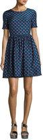 Kenzo Silk Jacquard Scalloped Check Dress, Blue