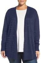 Sejour Plus Size Women's Eyelash Stripe Open Front Cardigan
