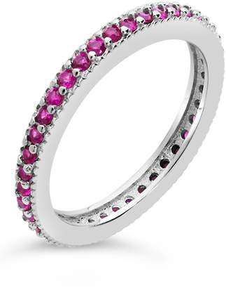 Sterling Forever Sterling Silver CZ Eternity Band Ring - Fuchsia