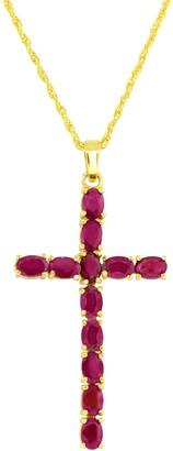 14K Gold Plated Sterling Gemstone Cross Pendant w/ Chain