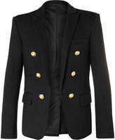 Balmain Black Double-Breasted Wool-Jersey Blazer