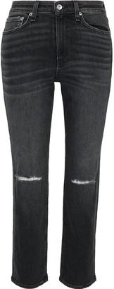 Rag & Bone Nina Distressed High-rise Straight-leg Jeans