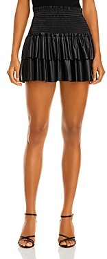 Aqua Faux Leather Smocked Mini Skirt - 100% Exclusive