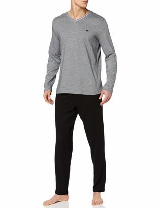 Hom Herren - Long Pyjama Set 'Onyx' - Exclusive Sleepwear Elegant Design - Black - L