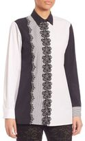 Etro Contrast Embroidered Floral Button-Up