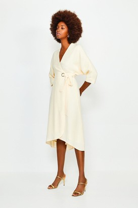 Karen Millen Eyelet Detail Batwing Wrap Dress