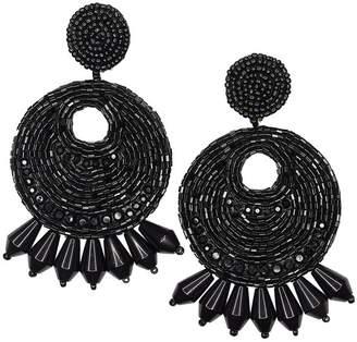 Kenneth Jay Lane Black Seed Bead Round Gypsy Hoop With Drops Pierced Or Clip Earrings