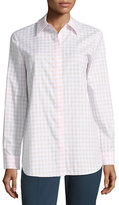 Lafayette 148 New York Brody Gingham Blouse, Light Pink