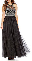 B. Darlin Halter Neck Illusion-Yoke Beaded Bodice Glitter Mesh Ball Gown