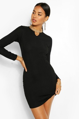 boohoo Notch Neck Long Sleeve Bodycon Dress