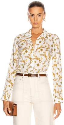 L'Agence Holly Long Sleeve Blouse in Ivory & Gold | FWRD