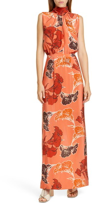 Johanna Ortiz Beaded Floral Print Silk Crepe de Chine Maxi Dress