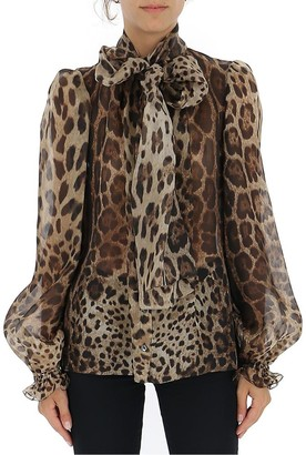 Dolce & Gabbana Animalier Pussy Bow Blouse