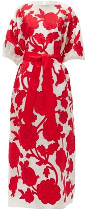 Erdem Riviera Modotti Floral-applique Silk-blend Dress - Womens - Red White