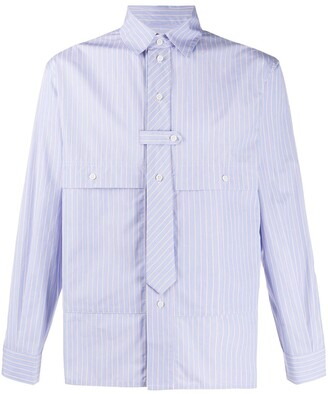 Gr Uniforma Stripe Tie-Embellished Cotton Shirt
