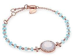 Meira T Women's Chalcedony, Mother-Of-Pearl, Blue Topaz, Diamond & 14K Rose Gold Beaded Bracelet