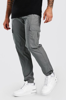 boohoo Mens Grey Nylon Pocket Jogger, Grey