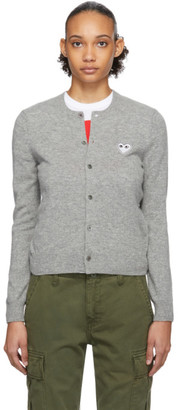 Comme des Garcons Grey and White Heart Cardigan